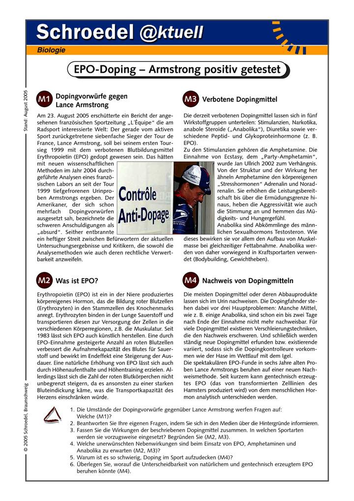 epo doping armstrong positiv getestet ein arbeitsblatt zu den auswirkungen von doping auf. Black Bedroom Furniture Sets. Home Design Ideas