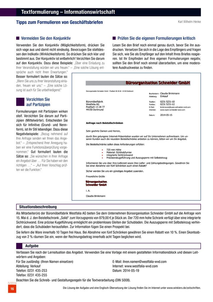 Textformulierung Informationswirtschaft Tipps Zum Formulieren Von Geschäftsbriefen