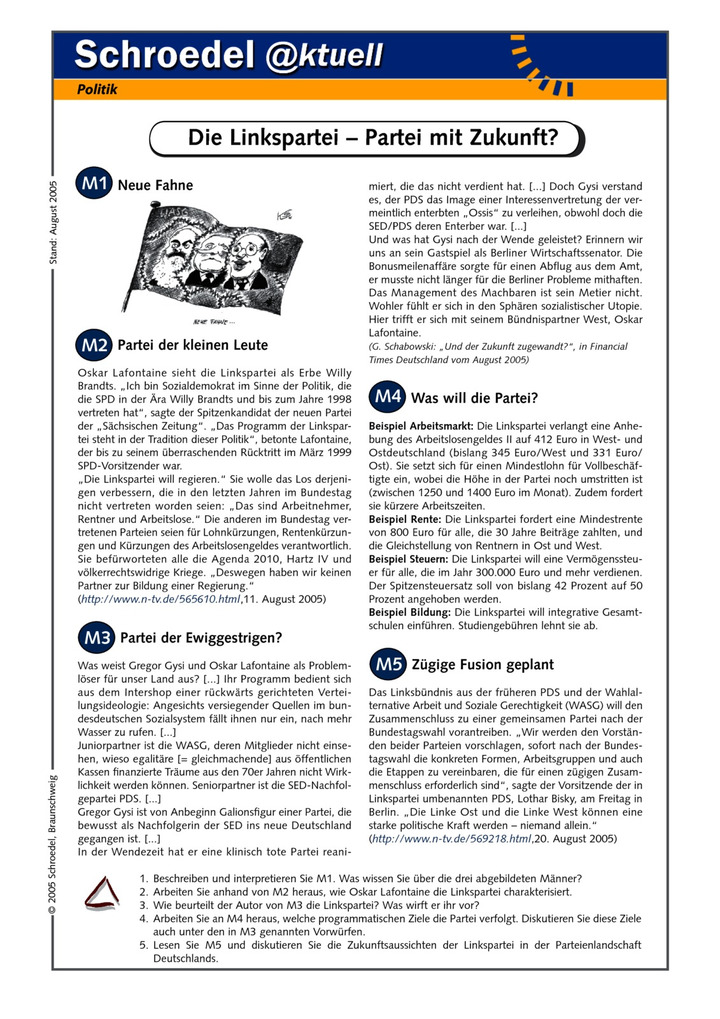 Die Linkspartei – Partei mit Zukunft? - - ein Arbeitsblatt zum ...