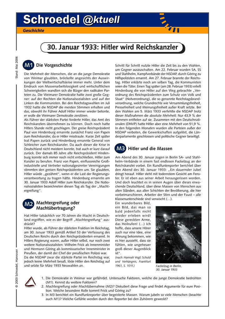 30. Januar 1933: Hitler wird Reichskanzler - - ein Arbeitsblatt zur ...