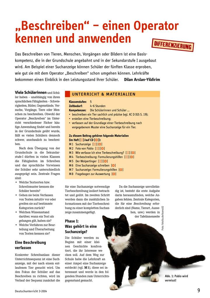 beschreiben einen operator kennen und anwenden verlage der westermann gruppe - Muster Tierbeschreibung