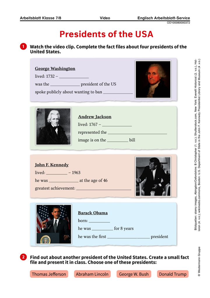 Presidents of the USA - Arbeitsblatt zum Video \