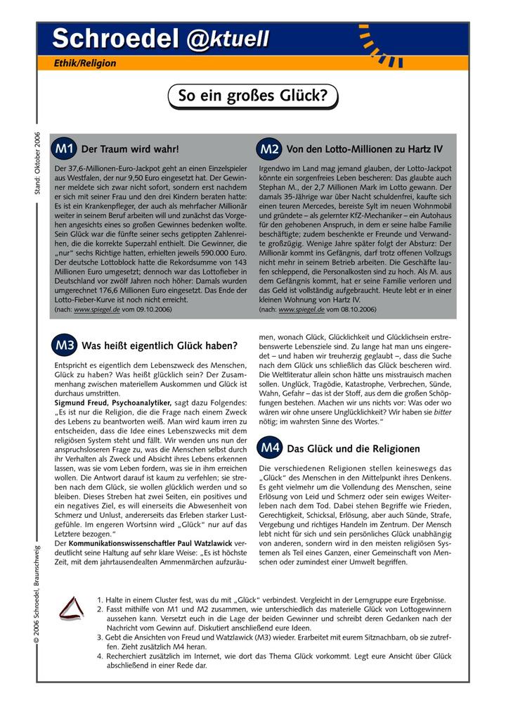 So ein großes Glück? - - ein Arbeitsblatt für den Ethik-Unterricht ...