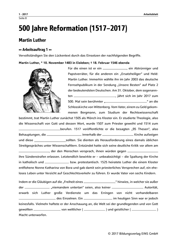 Martin Luther - Arbeitsblatt: Bildungsverlag EINS
