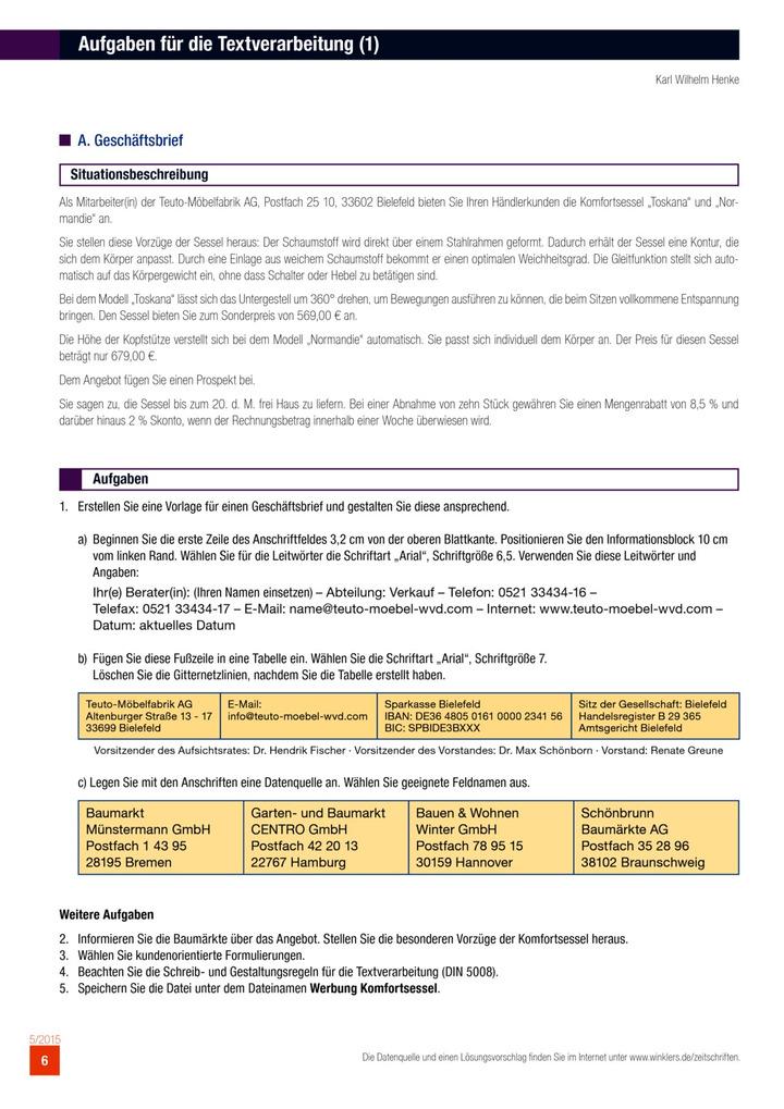 Aufgaben Für Die Textverarbeitung Winklers Verlag