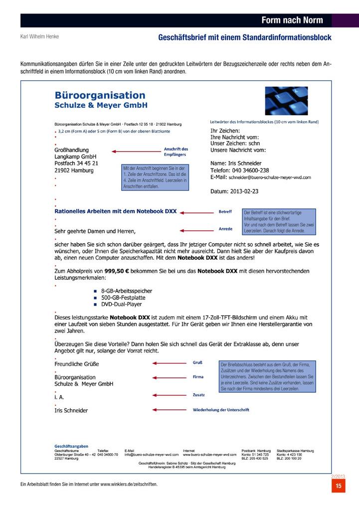 Form Nach Norm Geschäftsbrief Mit Einem Standardinformationsblock