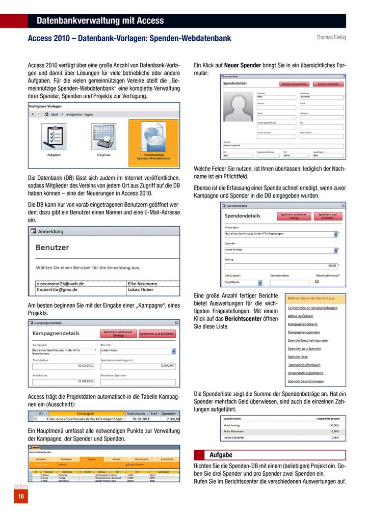 Access 2010 – Datenbank-Vorlagen: Spenden-Webdatenbank: Verlage der ...
