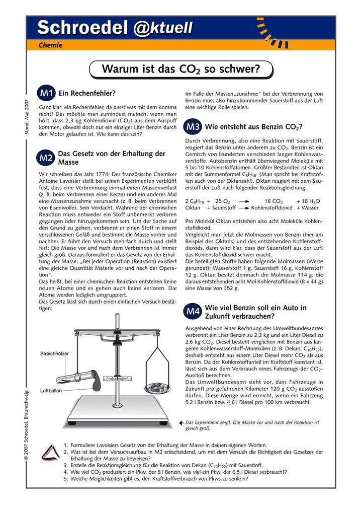 Warum ist das CO2 so schwer? - - ein Arbeitsblatt zum Zusammenhang ...