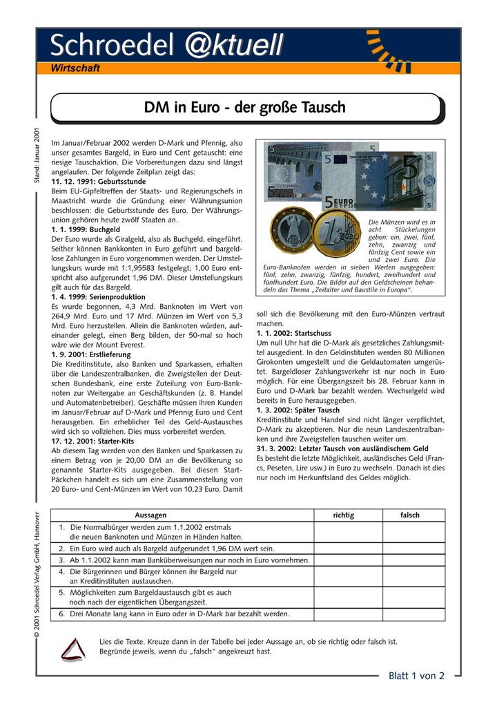DM in Euro - der große Tausch (1) - - Arbeitsblätter zur größten ...