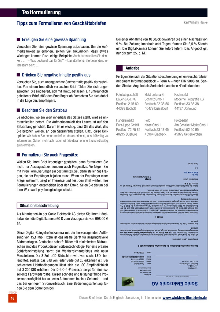 Textformulierung Bildungsverlag Eins