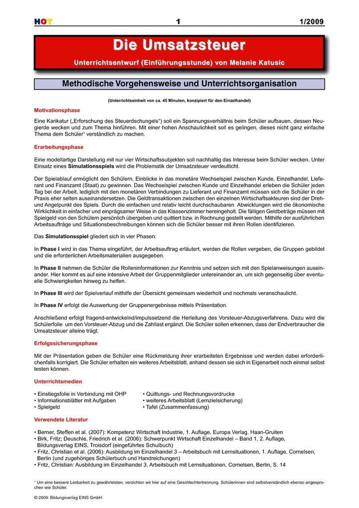 Die Umsatzsteuer - Unterrichtsentwurf (Einführungsstunde ...