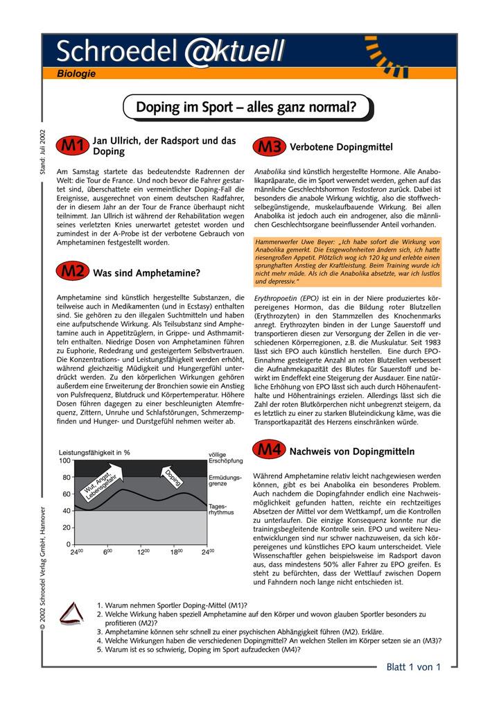 Doping im Sport - alles ganz normal? - - ein Arbeitsblatt zum Thema ...