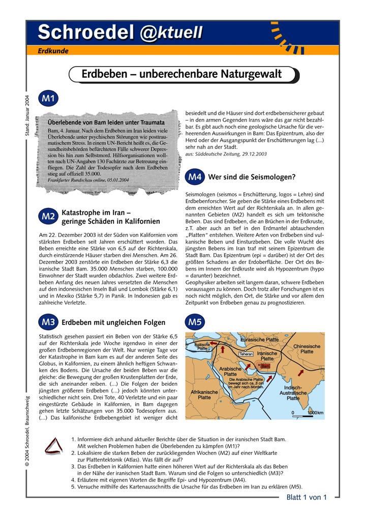 Erdbeben – unberechenbare Naturgewalt - - ein Arbeitsblatt zu den ...