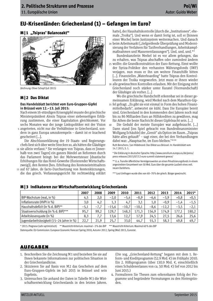 EU-Krisenländer: Griechenland (1) - Gefangen im Euro?: LÜK - Lernen ...