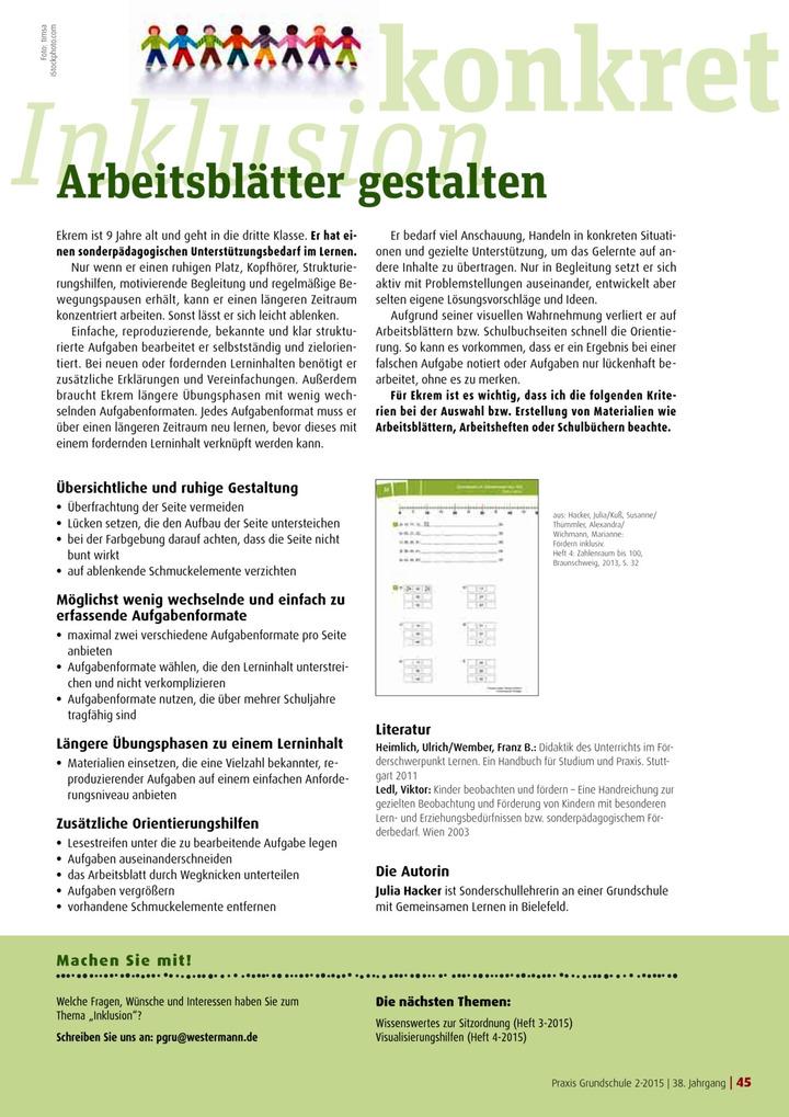 Inklusion konkret - Arbeitsblätter gestalten: Verlage der Westermann ...