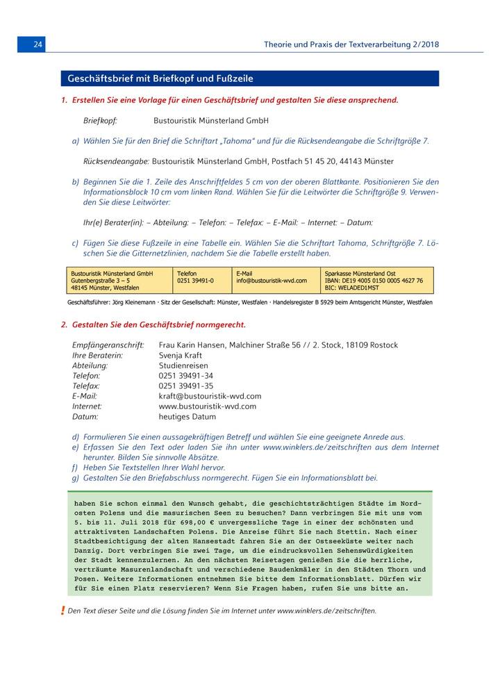 Geschäftsbrief Mit Briefkopf Und Fußzeile Aufgabenblatt Verlage