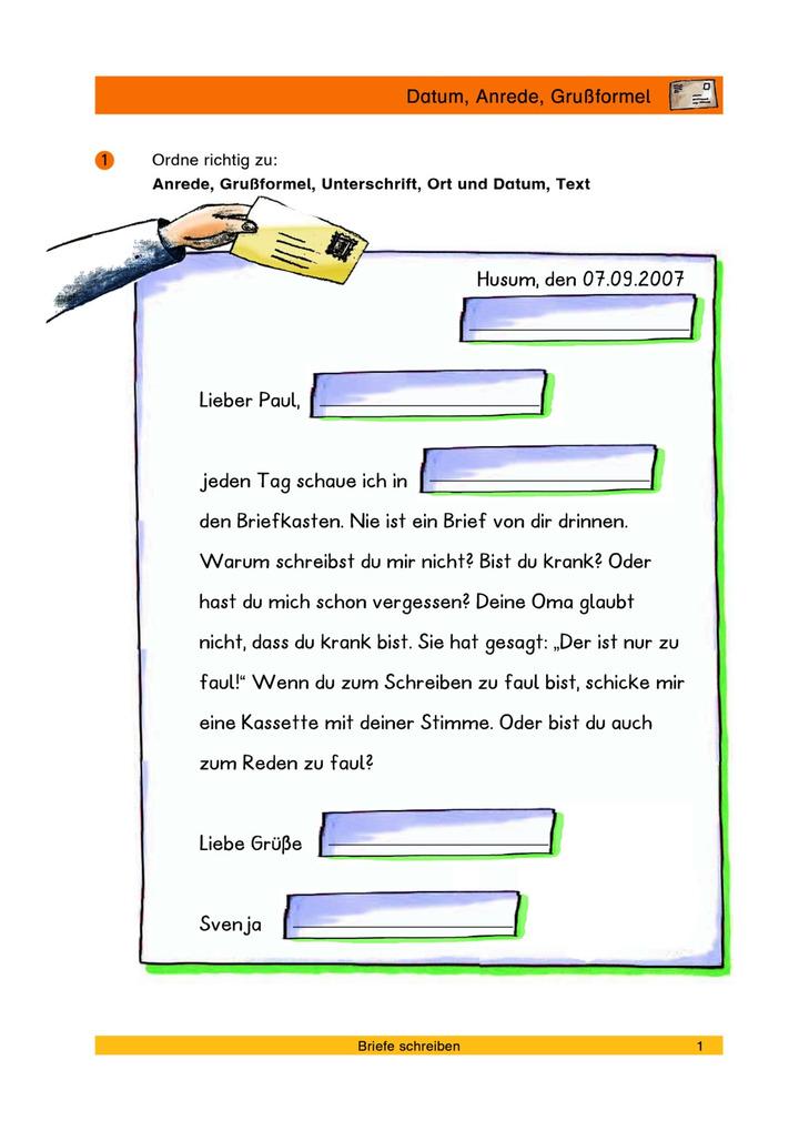 Datum Anrede Grußformel Merkmale Eines Briefes Erkennen Verlage
