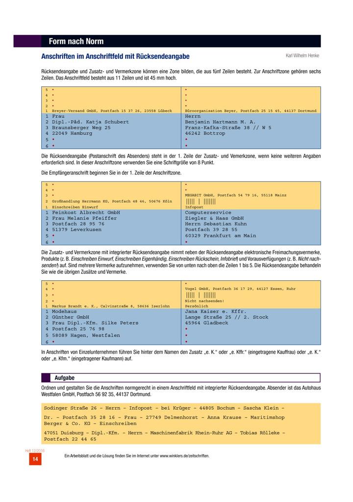Anschriften Im Anschriftfeld Mit Rücksendeangabe Arbeitsblatt