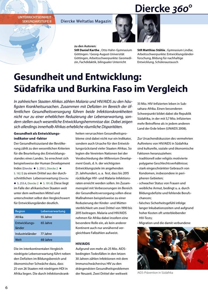 Arbeitsblatt Sek II: Gesundheit und Entwicklung - Südafrika und ...