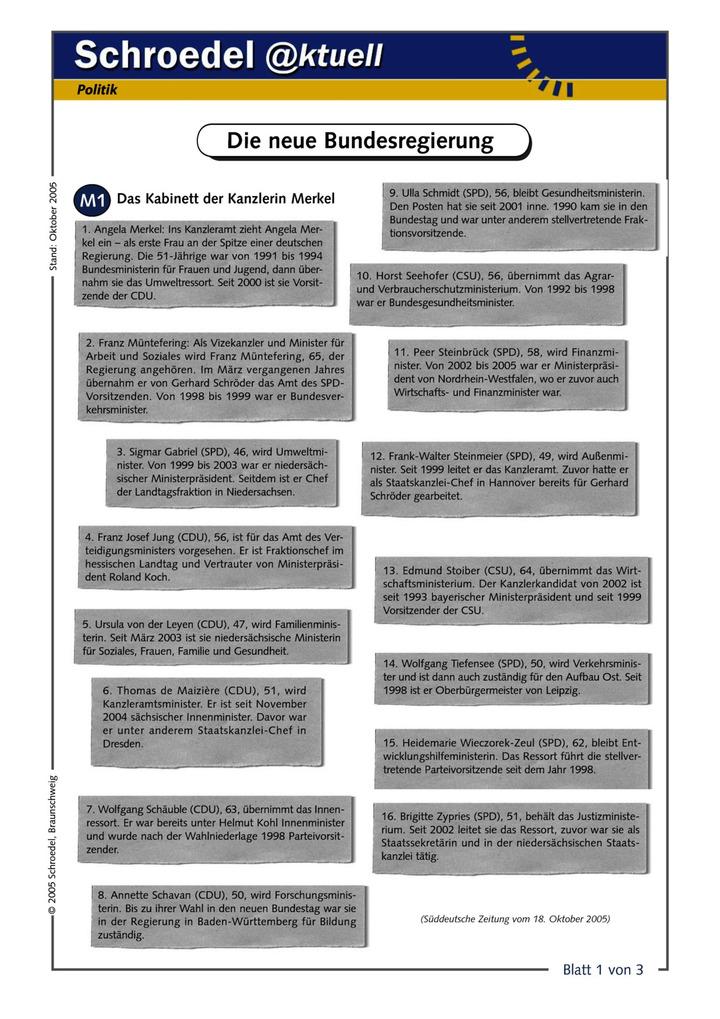 Die neue Bundesregierung - - ein Arbeitsblatt über das neue Kabinett ...