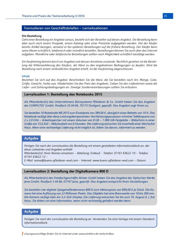 Formulieren Von Geschäftsbriefen Lernsituationen Winklers Verlag