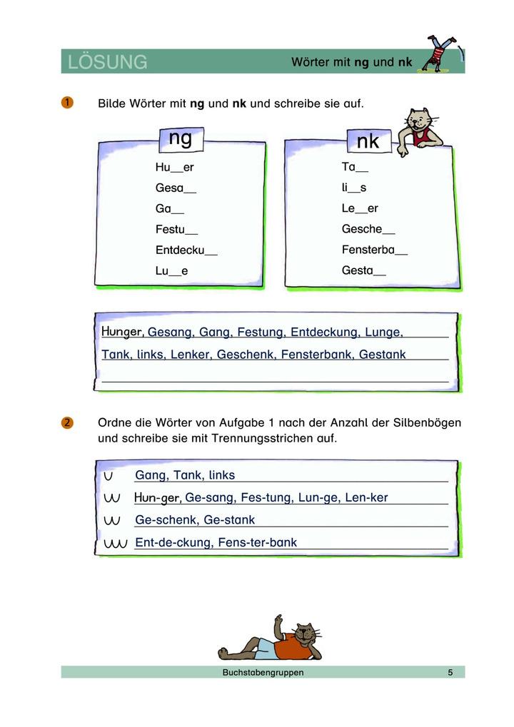 Wörter mit ng und nk - Wortlücken füllen - Lösungen: Verlage der ...