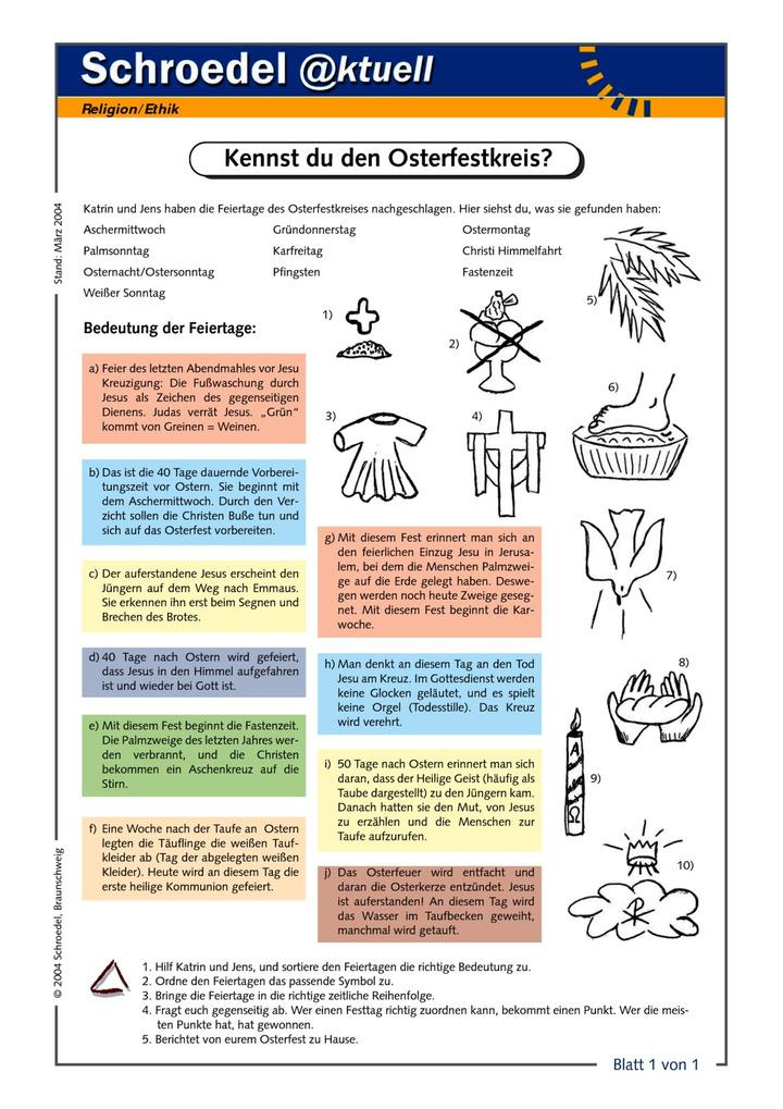 Kennst du den Osterfestkreis? - - ein Arbeitsblatt zur Bedeutung der ...