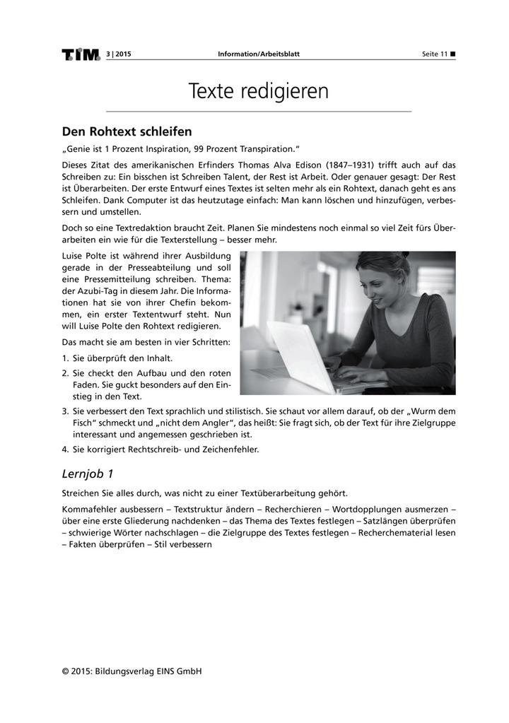 Texte redigieren - Den Rohtext schleifen: Verlage der Westermann Gruppe