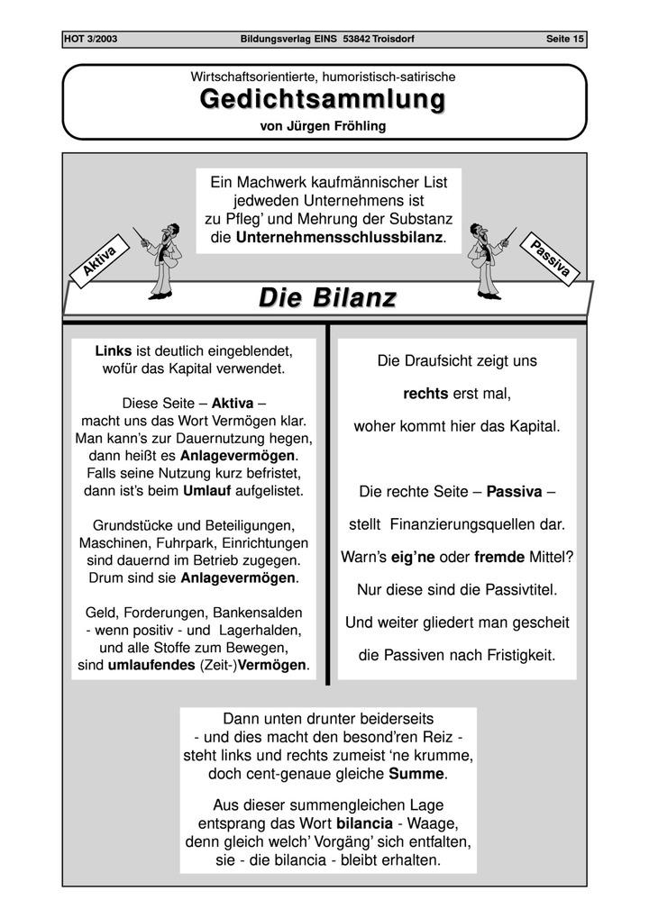 Die Bilanz - Gedichtsammlung: Bildungsverlag EINS