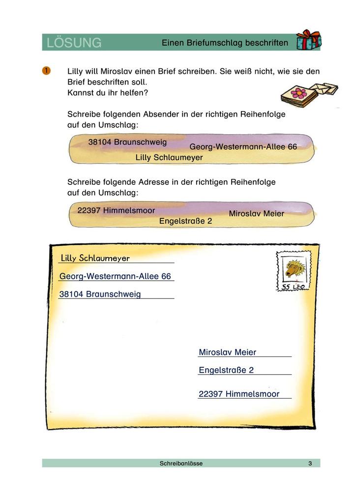 Einen Briefumschlag Beschriften Schreibanlass Briefumschlag