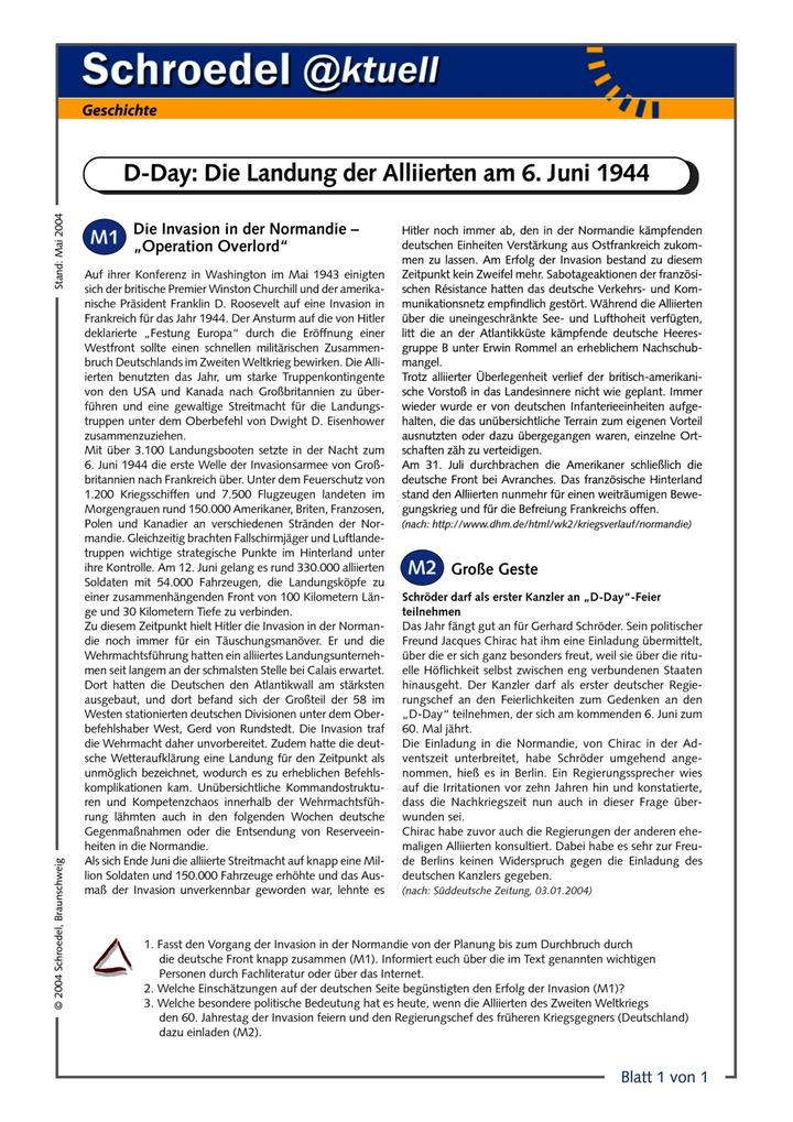 D-Day: Die Landung der Alliierten am 6. Juni 1944 - - ein ...