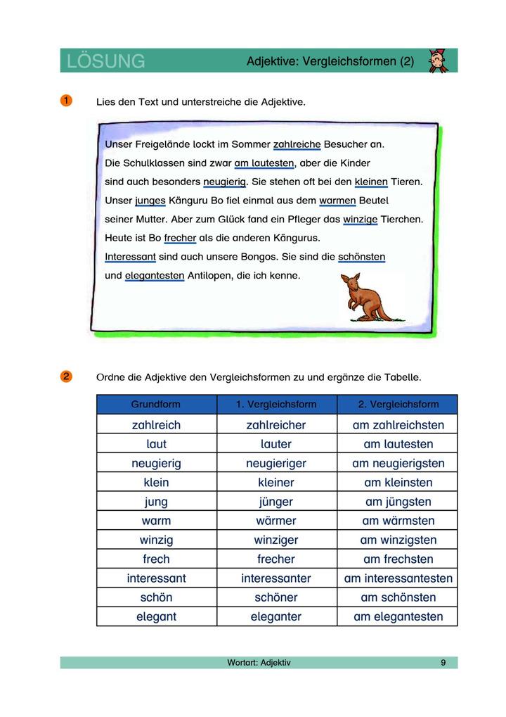 Adjektive: Vergleichsformen 1 - Adjektive erkennen und steigern ...