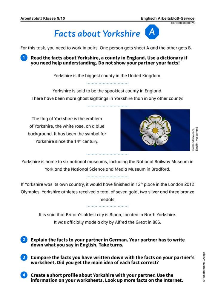 Facts about Yorkshire - Kooperatives Arbeitsblatt über die ...