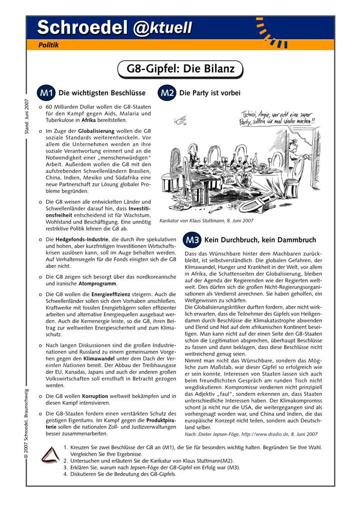 G8-Gipfel: Die Bilanz - - ein Arbeitsblatt zu den Ergebnissen des G8 ...