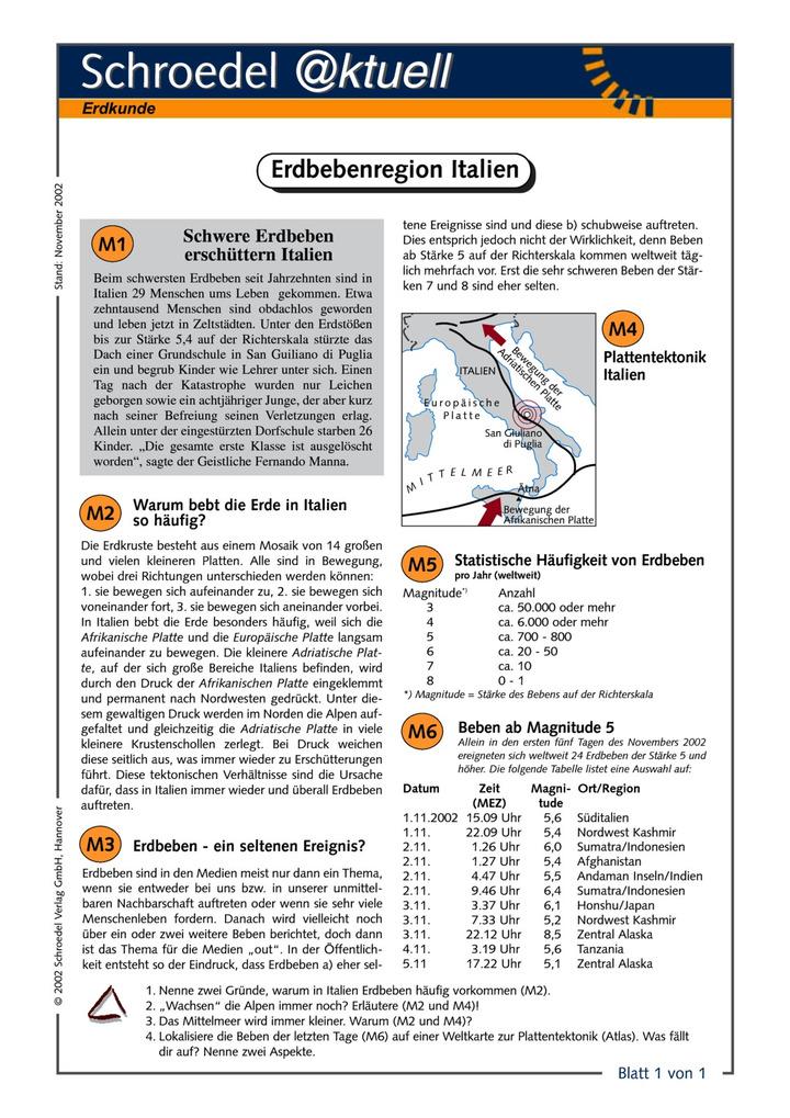 Erdbebenregion Italien - - ein Arbeitsblatt zu Erdbeben in Italien ...