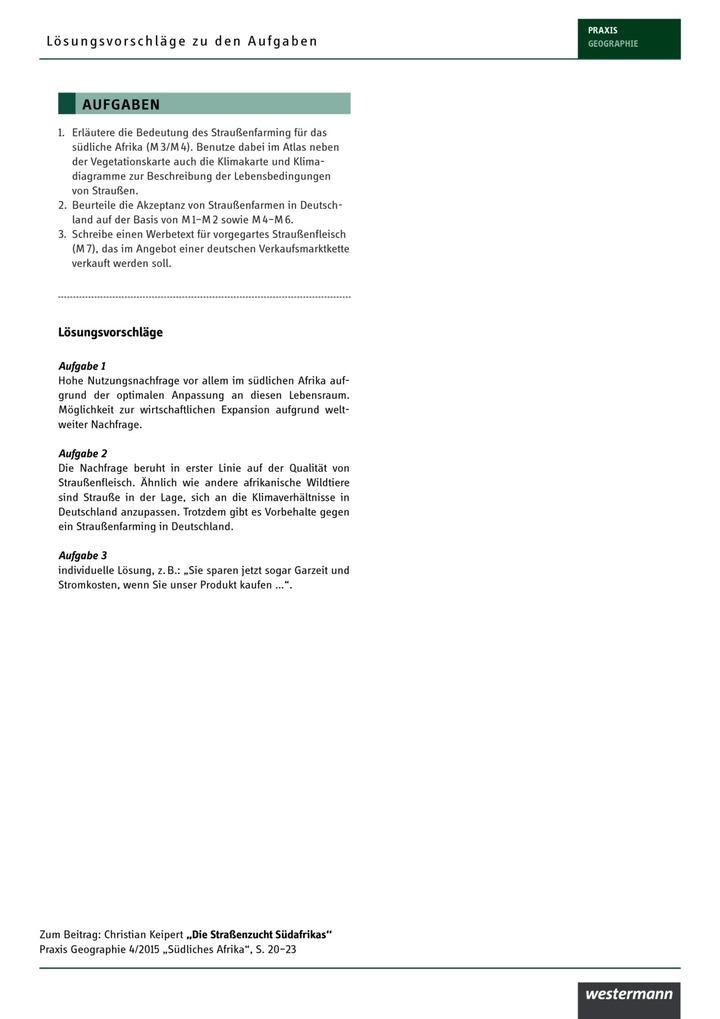 Lösungsvorschläge: Praxis Geographie