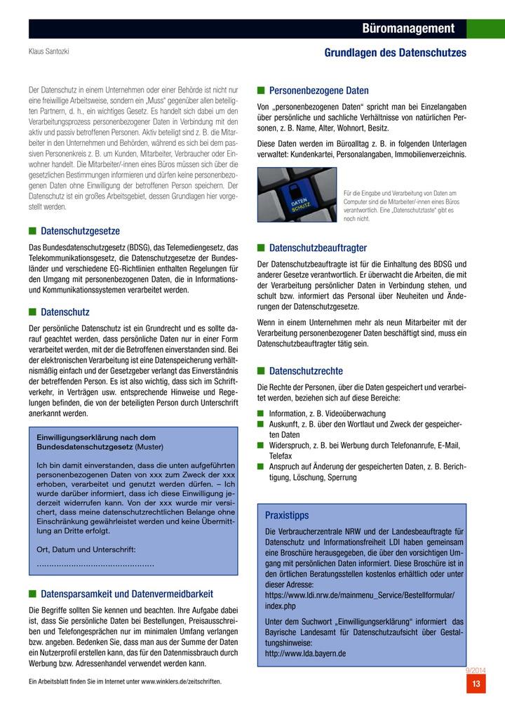 Büromanagement - Grundlagen des Datenschutzes: Winklers Verlag