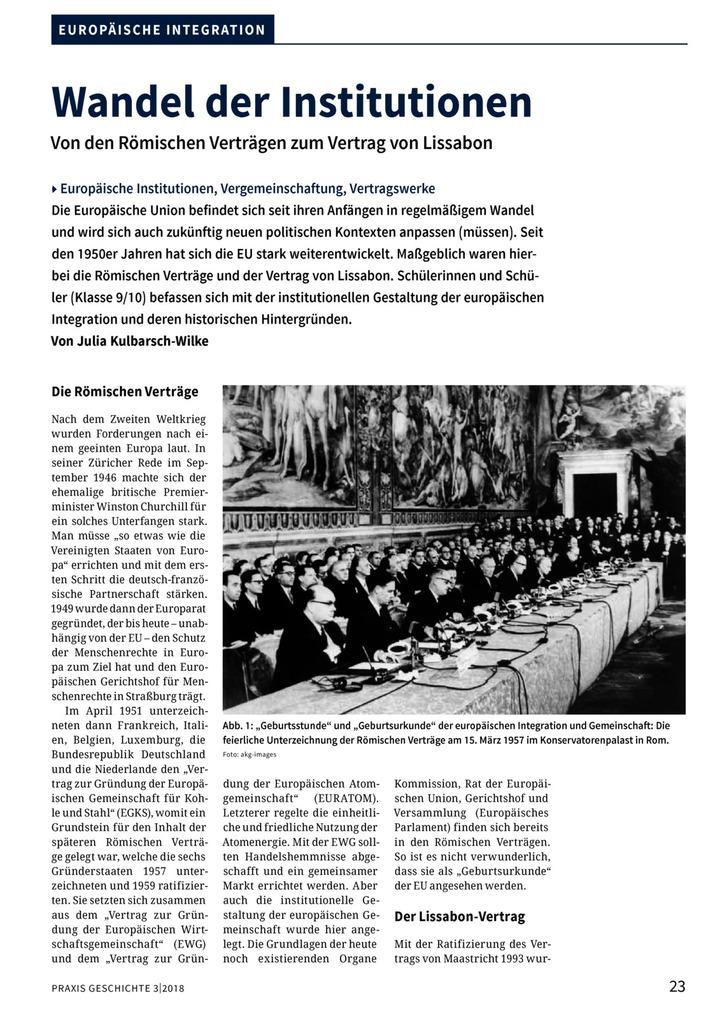 Wandel Der Institutionen Von Den Römischen Verträgen Zum Vertrag