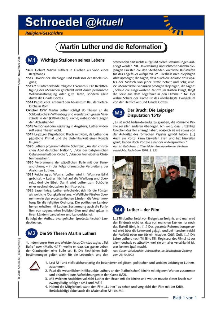 Martin Luther und die Reformation - - ein Arbeitsblatt zur ...