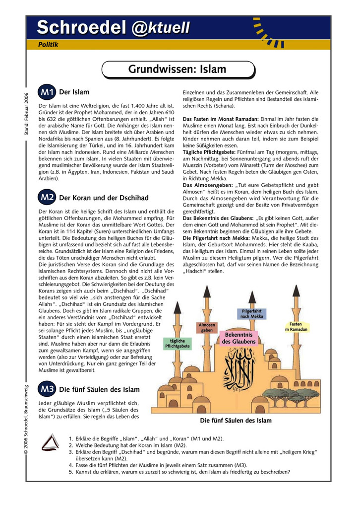 Grundwissen: Islam - - ein Arbeitsblatt zur Weltreligion Islam (ab ...