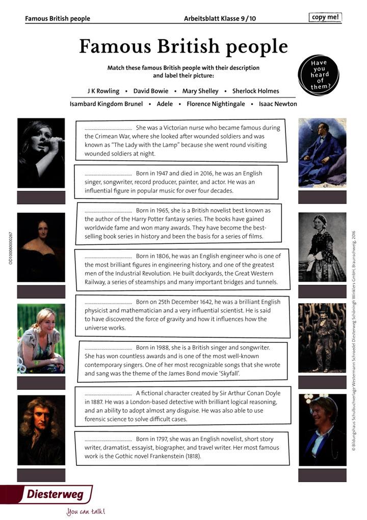 Famous British people: Schroedel Verlag
