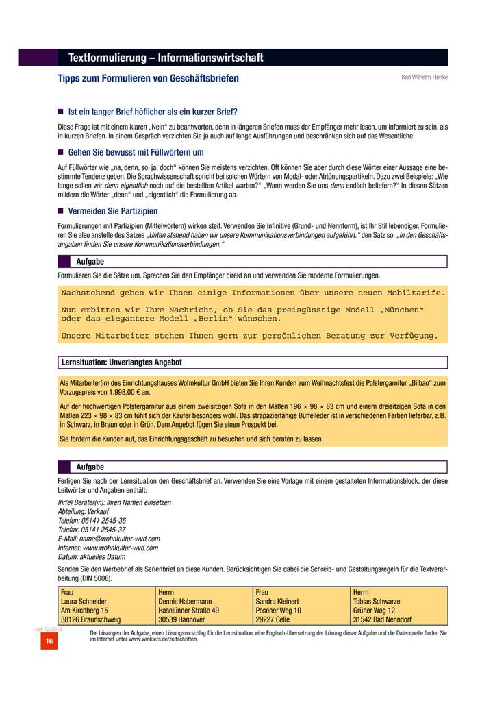 Tipps Zum Formulieren Von Geschäftsbriefen Arbeitsblatt Winklers