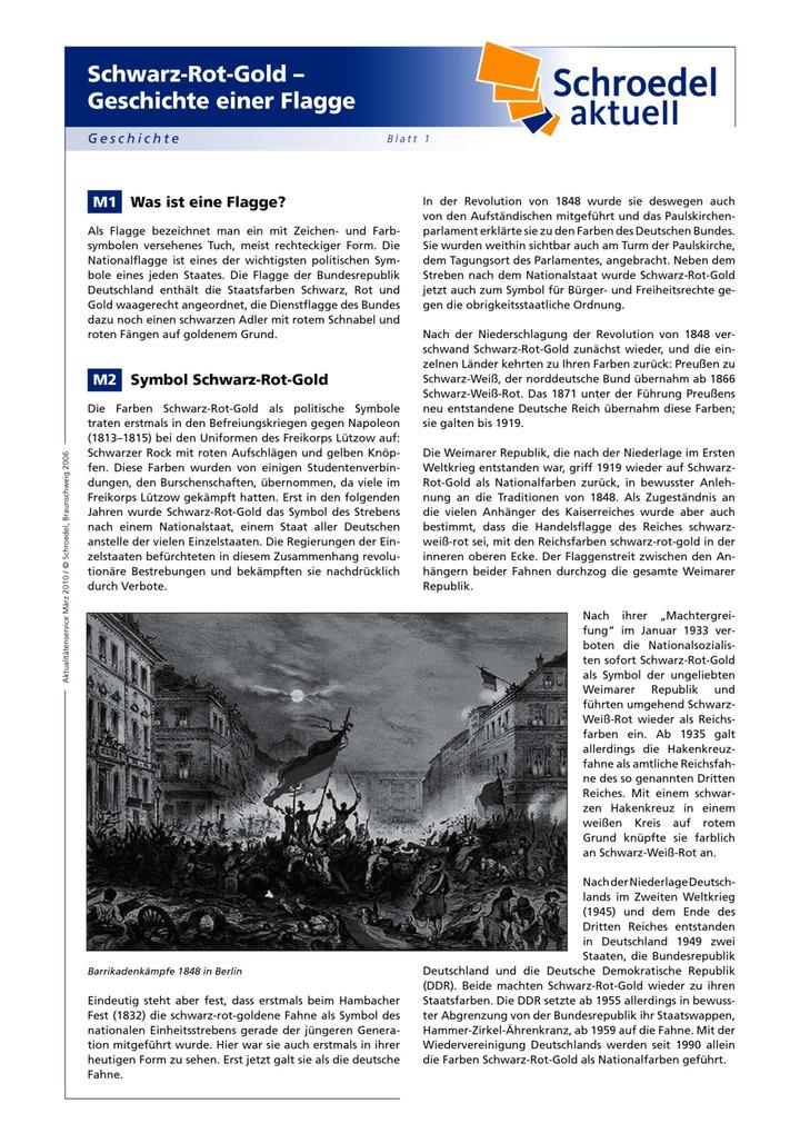 Schwarz-Rot-Gold – Geschichte einer Flagge - - ein Arbeitsblatt zur ...