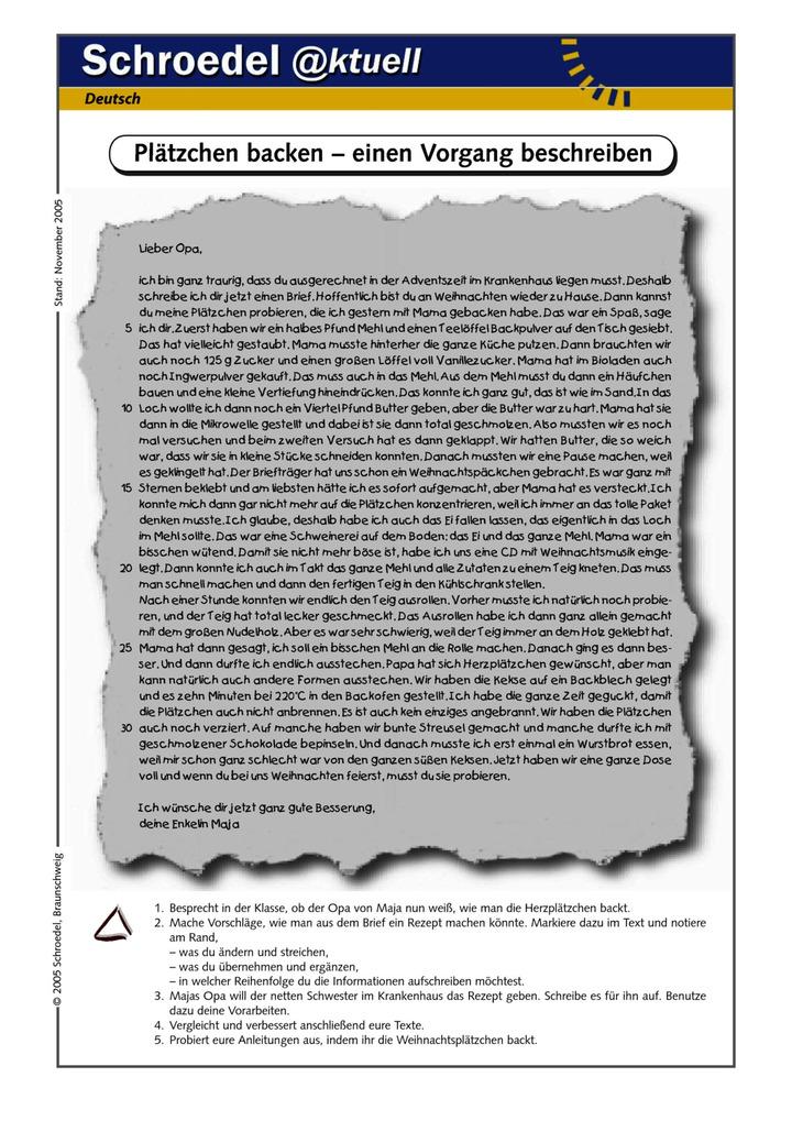 Plätzchen backen – einen Vorgang beschreiben - - eine Arbeitsblatt ...