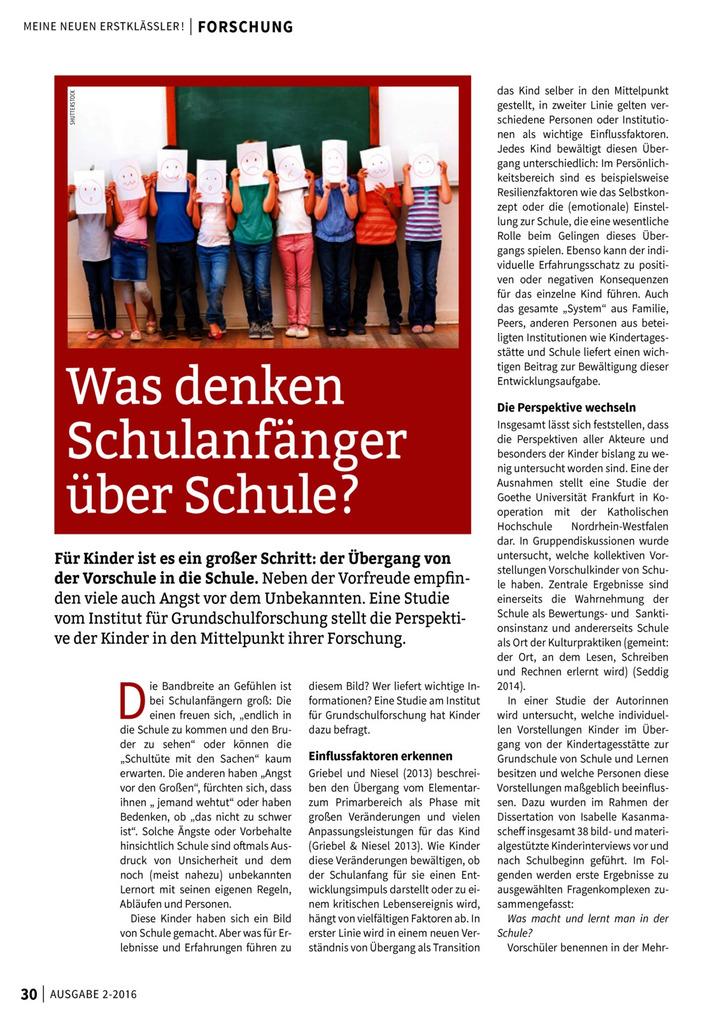 Was denken Schulanfänger über Schule?: Verlage der Westermann Gruppe