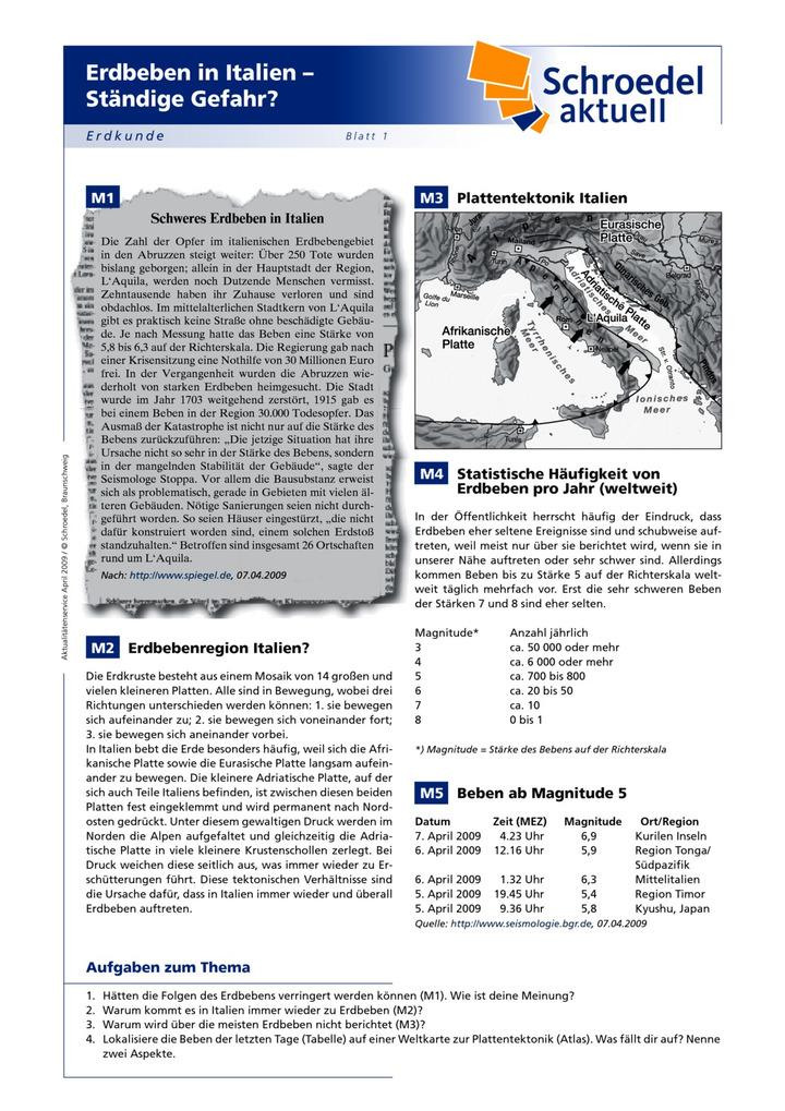 Erdbeben in Italien – Ständige Gefahr? - - Erdkunde ab Klasse 7 ...