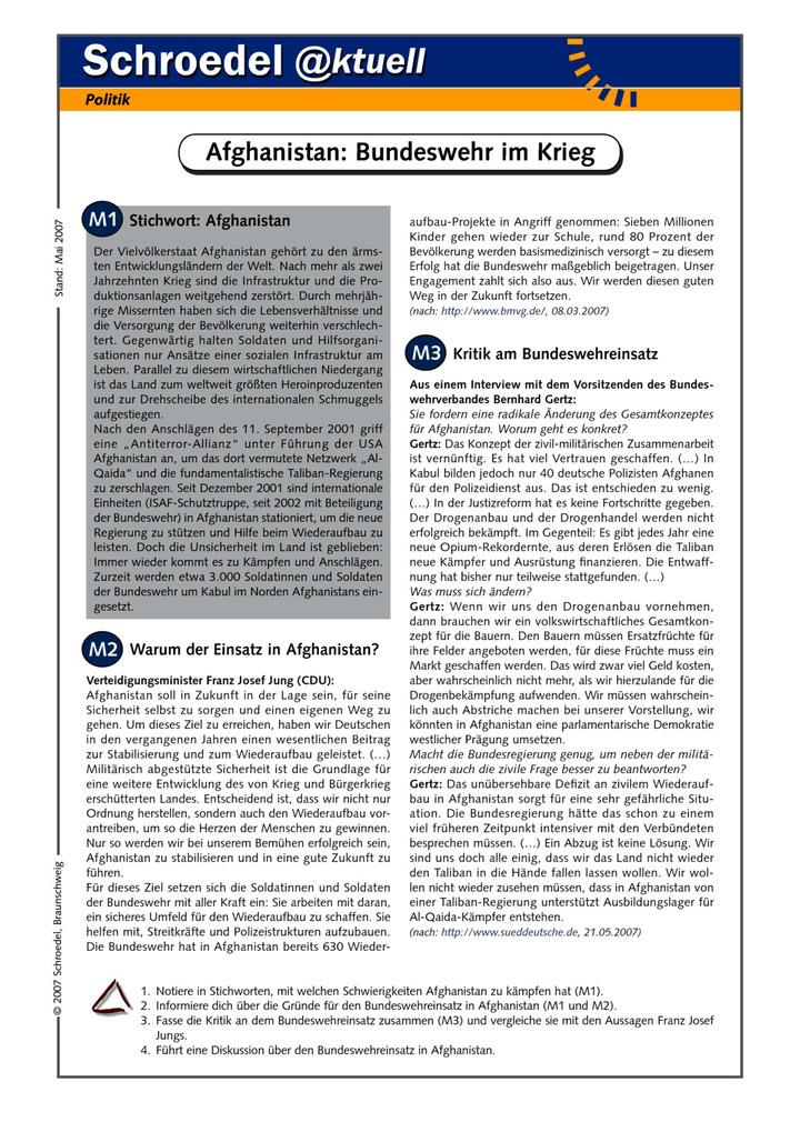 Afghanistan: Bundeswehr im Krieg - - ein Arbeitsblatt über die Ziele ...