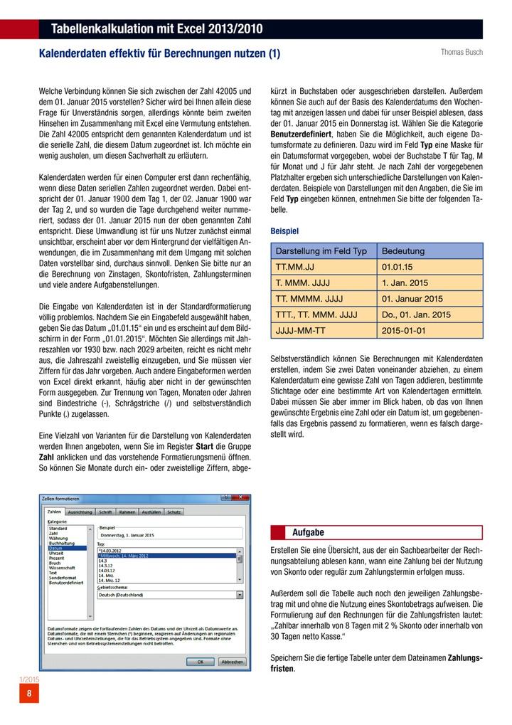 Tabellenkalkulation Mit Excel 20132010 Kalenderdaten Effektiv Für