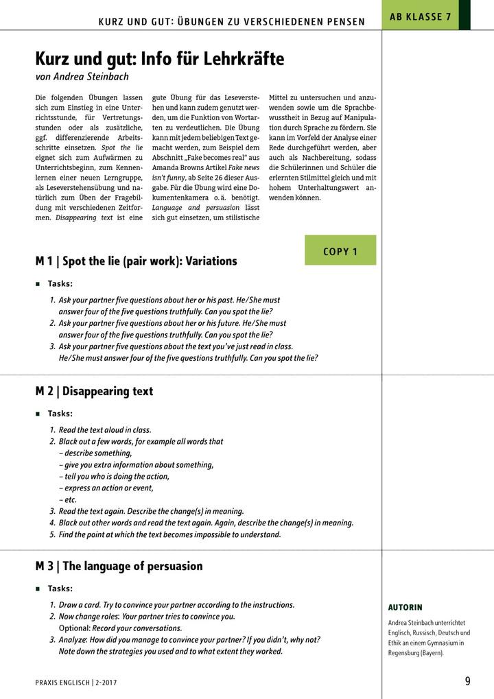 Kurz und gut! - Übungen zu verschiedenen Pensen: Diesterweg Verlag