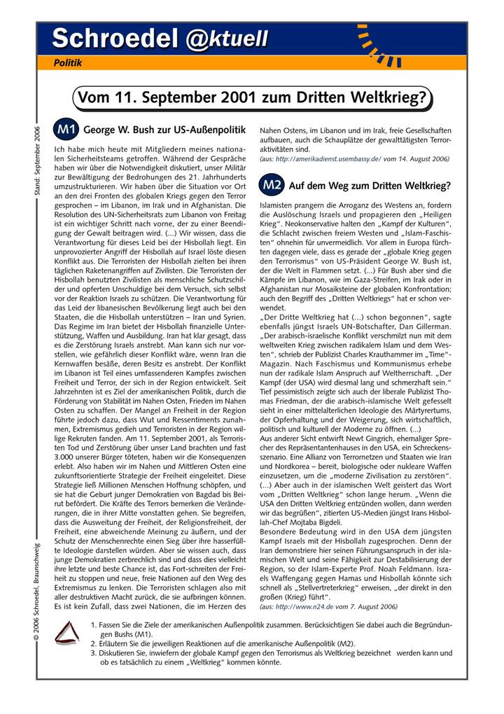 Vom 11. September zum Dritten Weltkrieg? - - ein Arbeitsblatt über ...